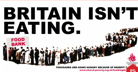 an endless queue of people in front of an entrance labelled 'food bank'